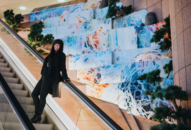 "Maluni at World Trade Center Stockholm with her 26sqm large art installation ""Against all odds"""